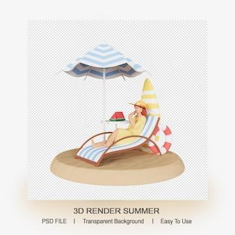 여성 캐릭터와 여름 개념의 3d 렌더링