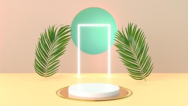 3d визуализация летнего подиума с пальмовым листом