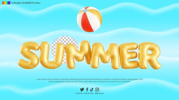 ボールと夏のテキストアルファベットの3dレンダリング
