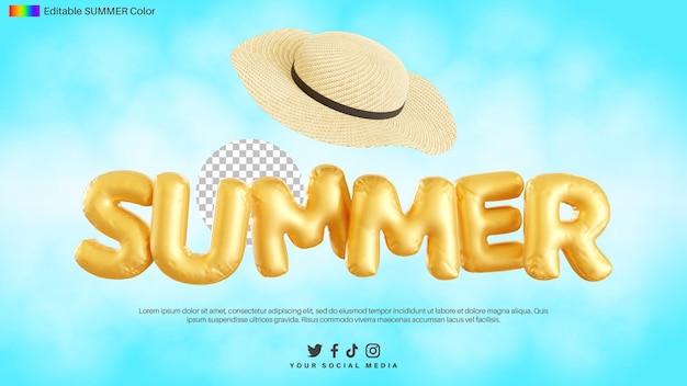 麦わら帽子と夏のテキストアルファベットの3dレンダリング