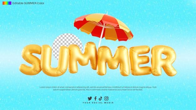 傘で夏のテキストアルファベットの3dレンダリング