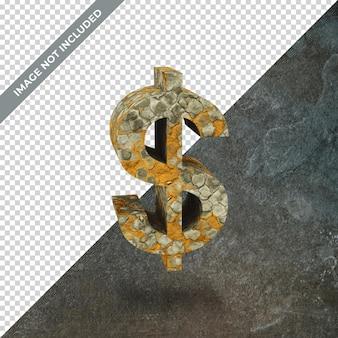 격리 된 배경으로 달러의 상징의 3d 렌더링