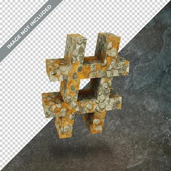 격리 된 배경으로 해시 태그의 상징의 3d 렌더링