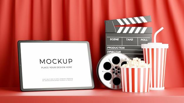 モックアップ デザインのための映画の時間を持つタブレットの 3 d レンダリング