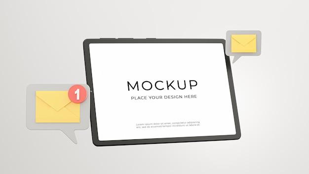 モックアップ デザインのメール通知アイコンが付いたタブレットの 3 d レンダリング