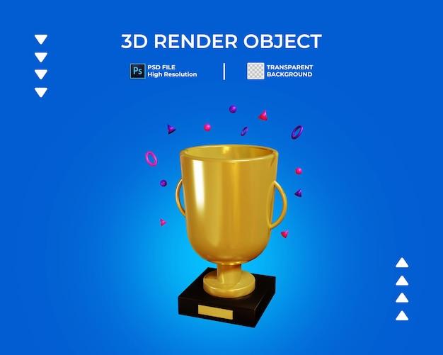 3d визуализация значка трофей изолированы