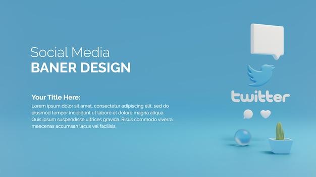 3d визуализация приложения для социальных сетей значка twitter и пузыря