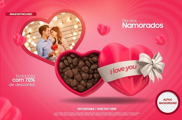 ハートとチョコレートのモックアップでブラジルのバレンタインデーの3dレンダリング