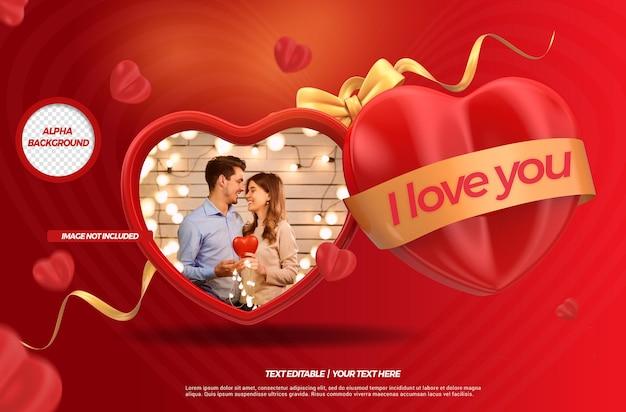 심장 모형과 함께 브라질에서 발렌타인 데이의 3d 렌더링