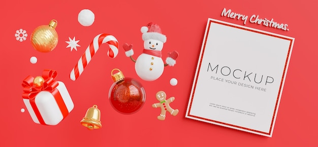 3d визуализация белой карты с концепцией счастливого рождества и нового года для отображения вашего продукта
