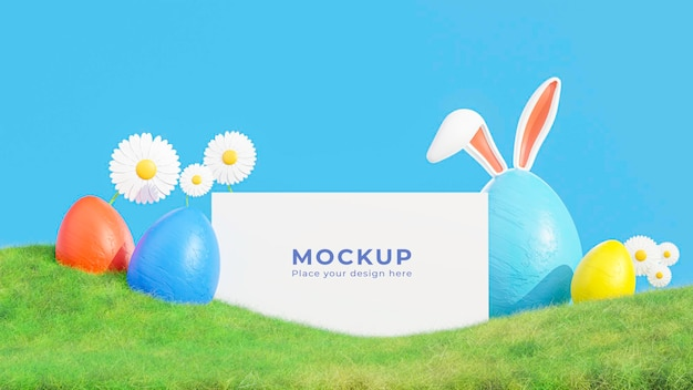 당신의 모형에 대한 부활절 달걀 축제와 흰색 프레임의 3d 렌더링