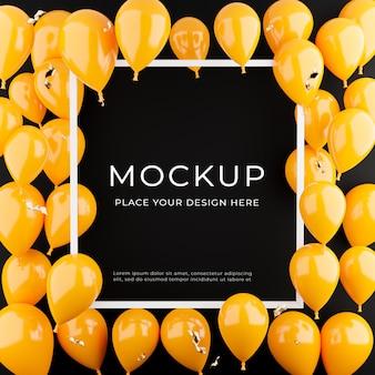 3d визуализация белой рамки с оранжевыми воздушными шарами, концепция покупок плаката для отображения продукта
