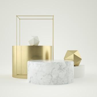 3d представляют шагов белого мрамора и золотого постамента
