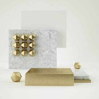 3d представляют белых мраморных изолированных шагов постамента, золотого кольца, круглой рамки, абстрактной минимальной концепции, пустого пространства, простого чистого дизайна, роскошного минимализма