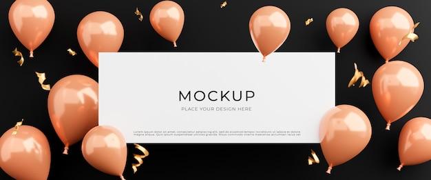 3d визуализация белого плаката с розовыми воздушными шарами, концепция покупок плаката для отображения продукта