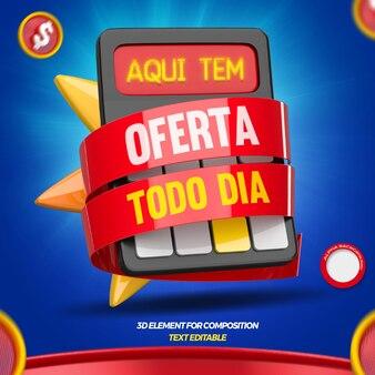 ポルトガル語での雑貨店キャンペーンの日の3dレンダリングオファー