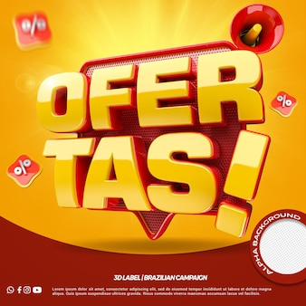 3d render offers for general stores campaign in portuguese