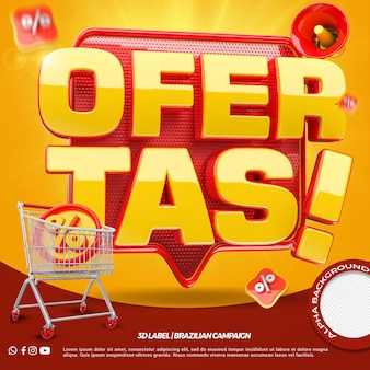 3d render offers with shopping cart for general stores campaign in portuguese