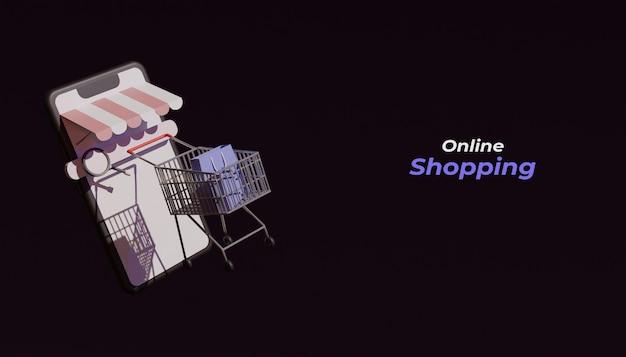 3d визуализация концепции интернет-магазинов