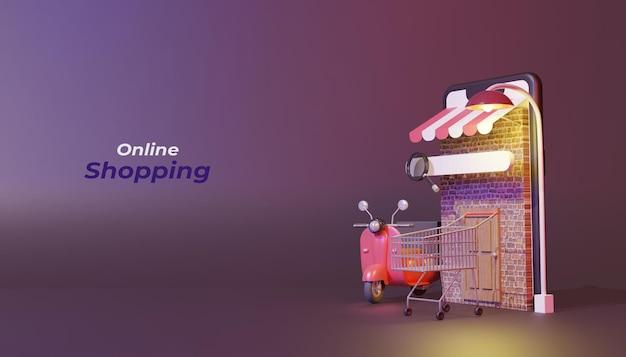 3d 렌더링 온라인 쇼핑 개념
