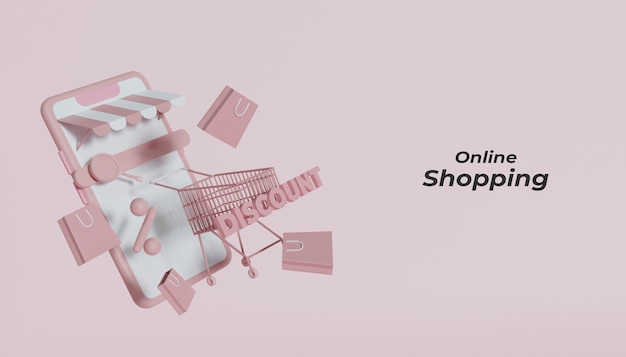 3d 렌더링 온라인 쇼핑 개념 프리미엄 PSD 파일