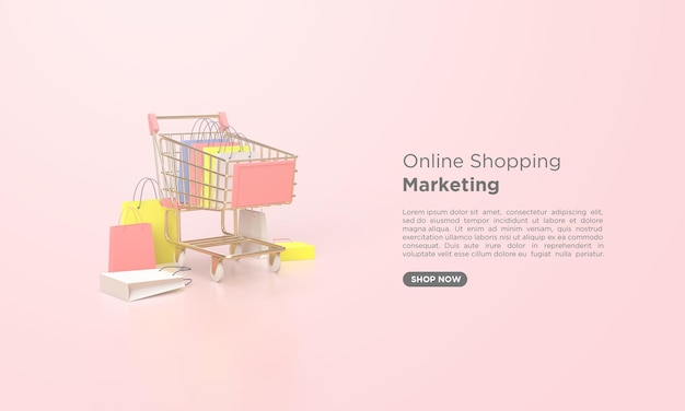 3d render online shopping with shopping cart