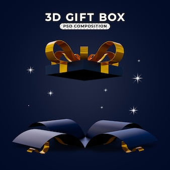 3d render of opened surprise gift box