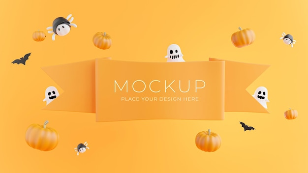 3d render of orange ribbon  with halloween concept for product display