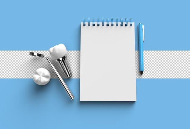 Ручка 3d-рендеринга и блокнот с прозрачным файлом psd для хирургии зубных имплантатов.