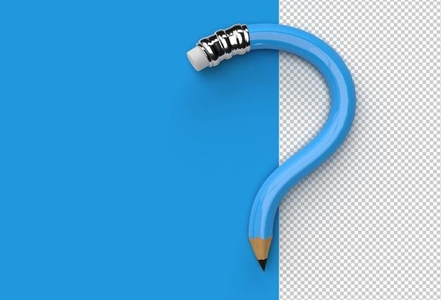 3d 렌더링 연필 물음표 투명 psd 파일.