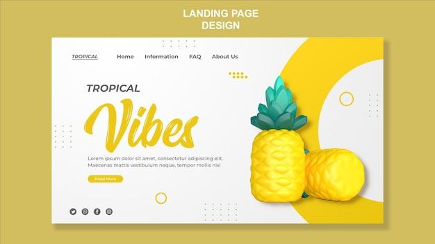 3d визуализация дизайна шаблона целевой страницы ананаса