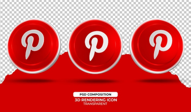 3d 렌더링 pinterest 아이콘 디자인