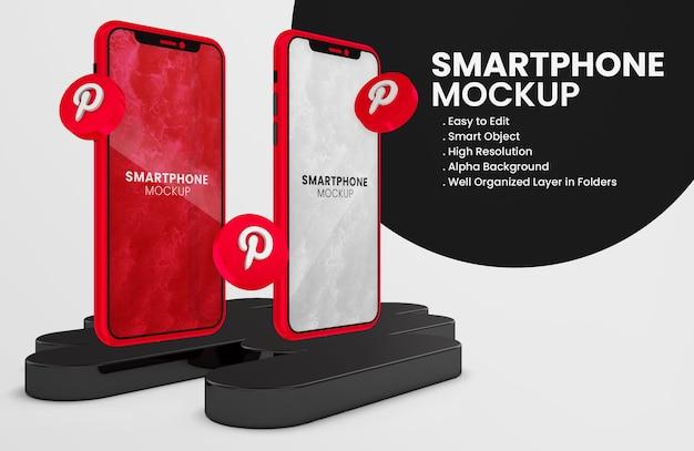 빨간색 스마트 폰 모형에 3d 렌더링 pinterest 아이콘