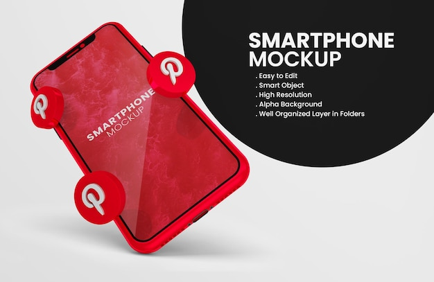 3d render pinterest icon on red smartphone mockup