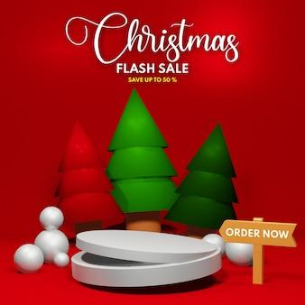 제품 프레젠테이션 배치를 위한 3d 렌더링 연단 크리스마스 플래시 판매
