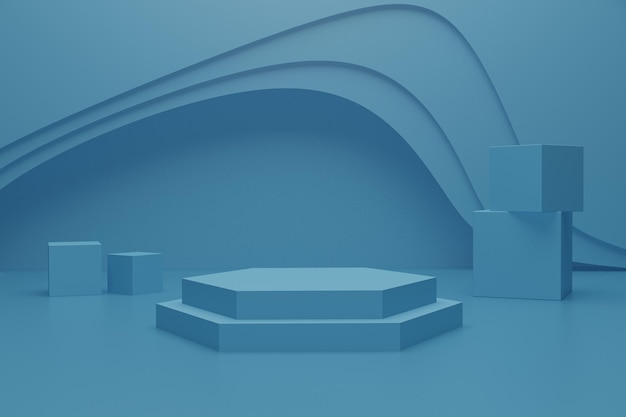 3d render podium scene on the floor for product advertisement