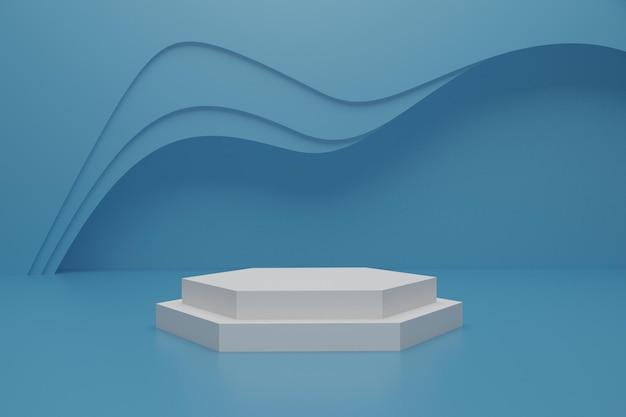 3d render podium scene on the floor for product presentation