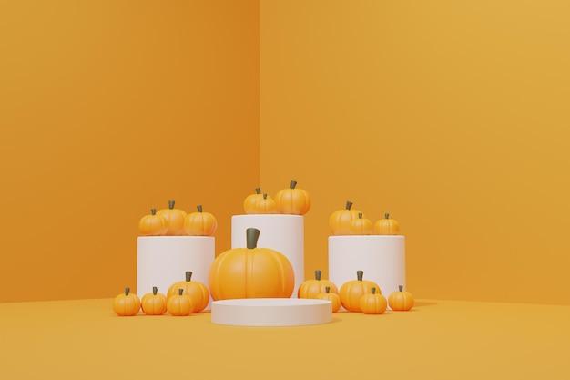 3d визуализация сцены подиума с тыквой для хэллоуина