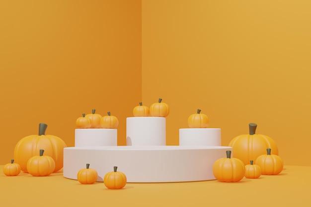 3d render podium scene with pumpkin
