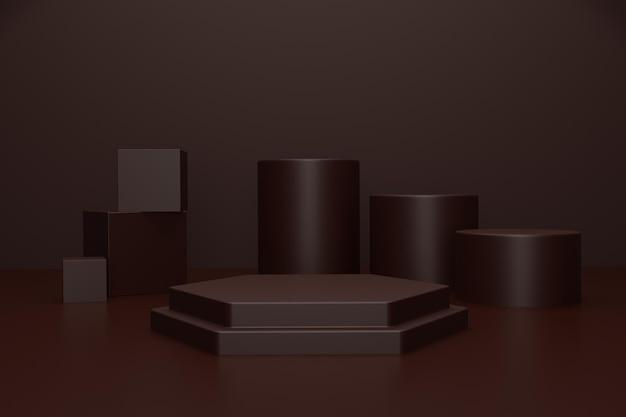 3d render podium stage for product presentation
