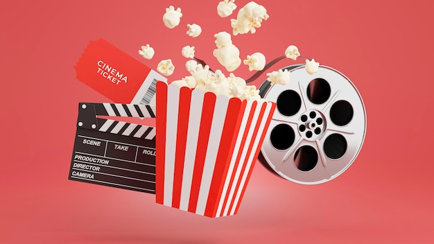 3d render of popcorn with cinema time