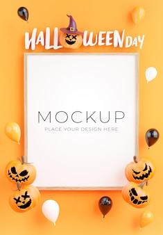 3d render of poster or frame with happy halloween shopping concept for product display