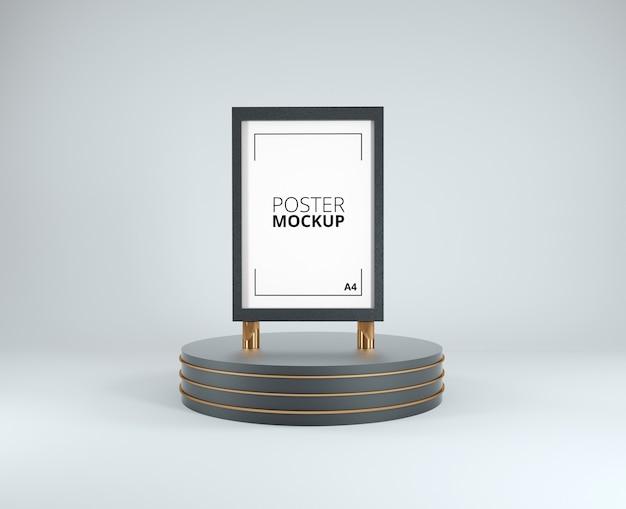 3d render of poster mockup black and gold frame