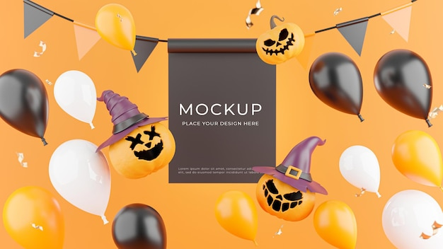 3d render of poster with halloween shopping concept for product display