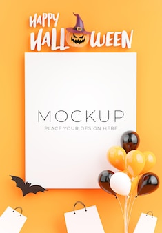 3d render of poster with happy halloween day concept for product display