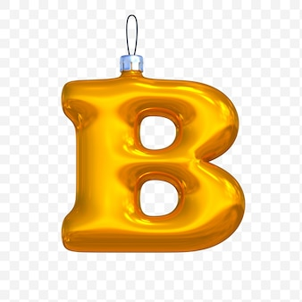 3d render of premium psd golden christmas ball alphabet letter b with isolated background