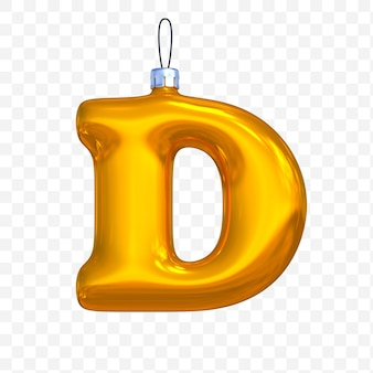 3d render of premium psd golden christmas ball alphabet letter d with isolated background