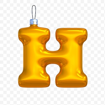 3d render of premium psd golden christmas ball alphabet letter h with isolated background