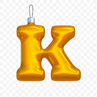 3d render of premium psd golden christmas ball alphabet letter k with isolated background