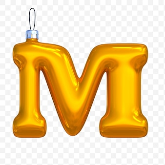 3d render of premium psd golden christmas ball alphabet letter m with isolated background